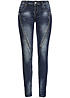 Hailys Damen Jeans RACHEL AM-X1501-13 2 deko Zipper 5-Pocket medium blue denim