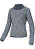 VILA Damen Strickpullover KAY 14029245 Grobstrick total eclipse blau weiss