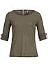 Hailys Damen Longsleeve OLIVE AM-0814195 Turn-Up Ärmel Zipper hinten khaki