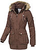 Eight2Nine Damen Winter Parka abnehmb Kapuze mit Kunstfell 4 Taschen by Sublevel braun