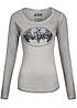Eight2Nine Damen Longsleeve Batman Logo Pailletten by Sublevel pencil grau
