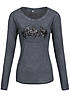 Eight2Nine Damen Longsleeve Batman Logo Pailletten by Sublevel anthrazit grau