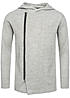 Jack and Jones Zip Hoodie WADE 12098510 asym silberner Zipper Kapuze hell grau melange