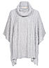 Eight2Nine Damen Poncho Grobstrick Rollkragen by Fresh Made grau melange