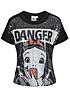 Tally Weijl Damen T-Shirt Pailletten DANGER Motiv schwarz off weiss