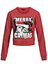 Tally Weijl Damen Short Sweater Merry Catmas Print Bauchfrei rot