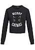 Tally Weijl Damen Short Sweater Merry Catmas Bauchfrei schwarz