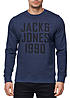 Jack and Jones Herren Sweater Crew Neck Regular Fit 1990 Print navy blazer melange