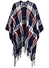 ONLY Damen Poncho Fransen night sky bordeaux off weiss