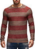 Jack and Jones Herren Strick Pullover Rollkante gestreift walnut braun rot melange