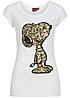 Eight2Nine Damen T-Shirt Peanuts Snoopy Pailletten Kurzarm by Sublevel weiss
