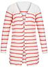 ONLY Damen Strick Cardigan offener Schnitt gestreift cloud dancer weiss coral