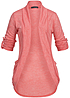 Styleboom Fashion Damen Turn-Up Cardigan 2 Taschen coral pink
