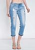 Eight2Nine Damen 7/8 Jeans Destroy Look 5-Pocket Style by Rock Angel hell blau denim