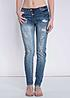 Eight2Nine Damen Jeans Destroy Look 3er Knopfleiste schräg by Rock Angel med blau denim