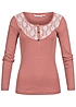 Eight2Nine Damen Longsleeve Spitze halbe Knopfleiste by Urban Surface dusty rosa