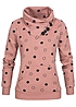 ONLY Damen Sweater High Neck 3 Knöpfe Kängurutasche Kreise Ash Rose rosa