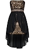 Styleboom Fashion Damen Bandeau Party Kleid Vokuhila Pailletten schwarz gold