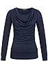 Styleboom Fashion Damen 2in1 Shirt Wasserfall Ausschnitt navy