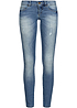 ONLY Damen Skinny Jeans NOOS Crash Optik 5-Pocket Style medium blau denim