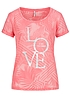 ONLY Damen Shirt Kurzarm Love Is All You Need teils transparent tea rosa
