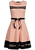 Styleboom Fashion Damen Mini Kleid teils transp Bindeband rosa