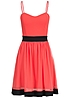 Styleboom Fashion Damen Mini Kleid verstellbare Träger Tüll Brustpads Zipper coral pink bk