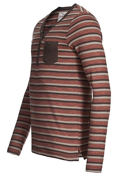 Eight2Nine Herren Longsleeve gestreift mit Brusttasche by Sublevel braun paprika rot