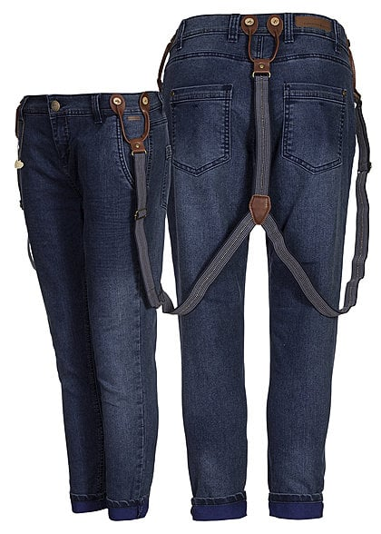 Eight2Nine Women Eight2Nine Damen 7/8 Jeans mit Hosenträger two coloured Turn Up Pant dark blue denim