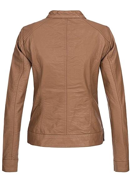 ONLY Damen NOOS Kunstleder Biker Jacke 2-Pockets cognac braun