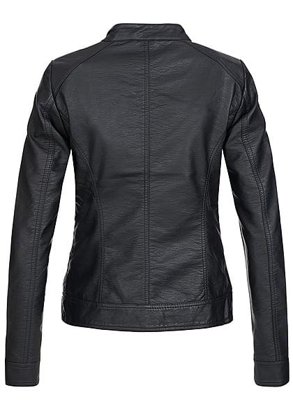 ONLY Damen NOOS Kunstleder Biker Jacke 2-Pockets schwarz