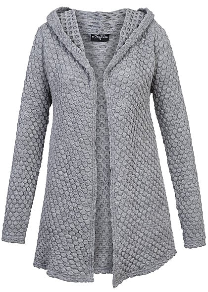 cardigan mit kapuze damen sweater grey. Black Bedroom Furniture Sets. Home Design Ideas