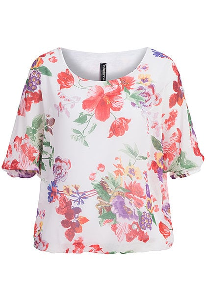 Madonna Chiffon Top ANNA- SOPHIE Blumen Allover V1 off weiss