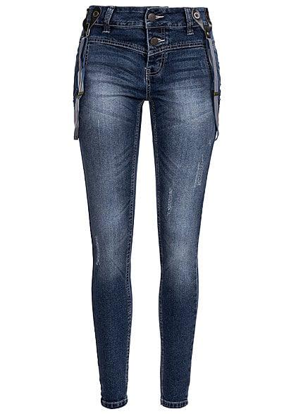 Eight2Nine Women Eight2Nine Damen Jeans mit Hosenträger Boyfriend Fit 2x Knöpfe by Sublevel mid blue
