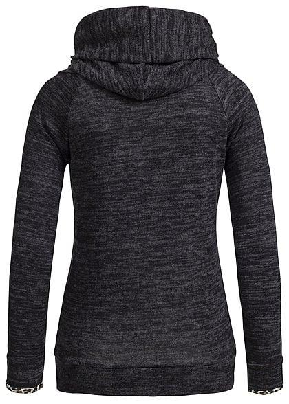 Styleboom Fashion Damen Melange Hoodie Leo-Print Kapuze schwarz dunkel grau