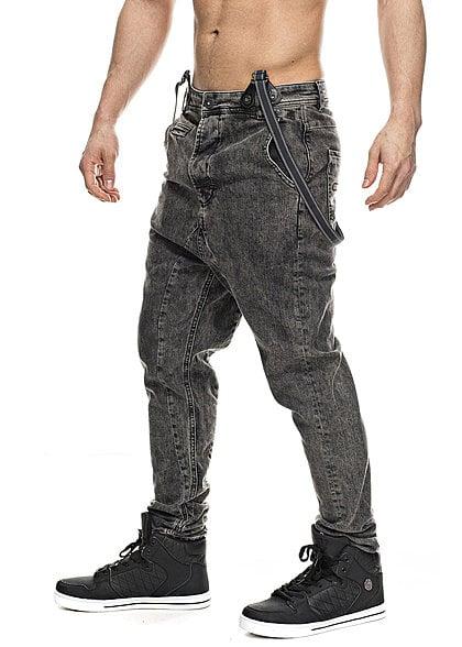 VSCT Clubwear Jeans 5641059C mit Hosenträger 5-Pocket Style Moonwash schwarz