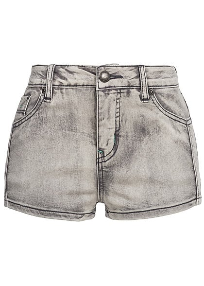 Eight2Nine Damen Hot Pant 5-Pocket Style 1 Knopf by Fresh Made grau washed