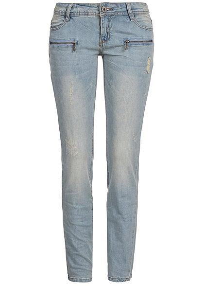 Eight2Nine Women Eight2Nine Damen Jeans Slim Fit 2 fake Zipper vorne by Rock Angel hell blau