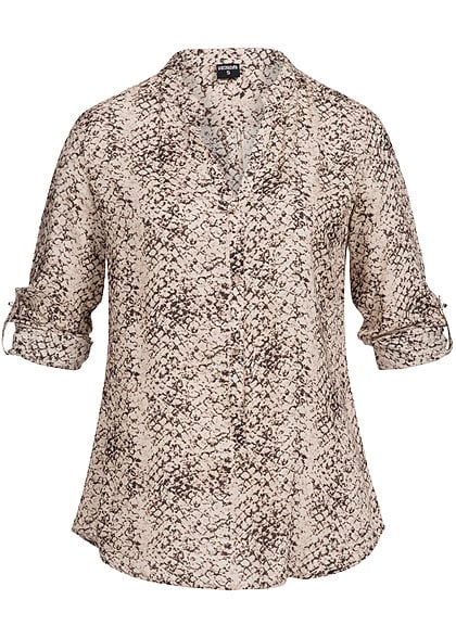 Hailys Damen Turn-Up Bluse taupe braun
