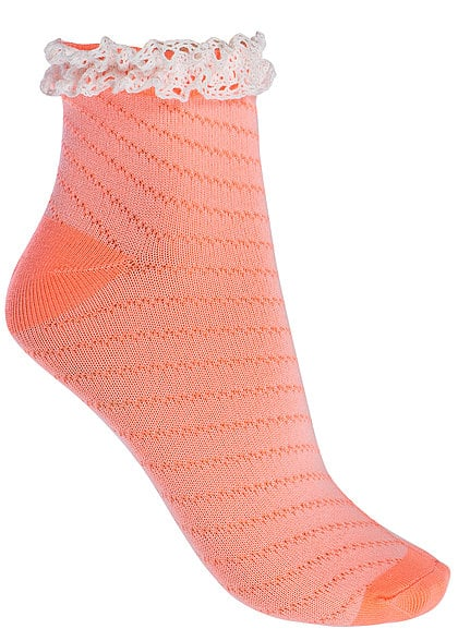 Tally Weijl Damen Socken ASOPERILL JY mit Spitze neon orange