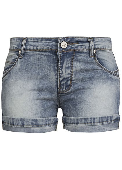 Madonna Jeans Shorts BLANDA 10-631 Turn Up Beine 5-Pocket Style verwaschen original Blau