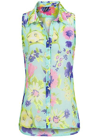 outlet store 1f28e 076e9 Madonna Damen Bluse ELENOR 40-8044X ärmellos durchsichtig Brusttasche  Blumen V2 Grün