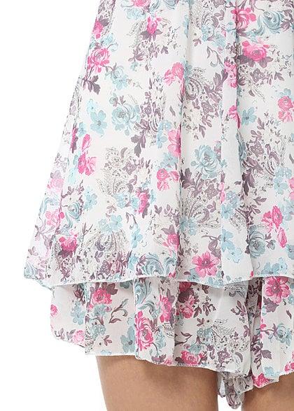 Madonna Bandeau Jumpsuit DESTINA 74-1294 Blumen Muster gerüschtes Bein off weiss pink