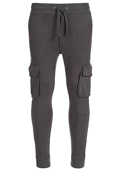 Jack and Jones SWEAT PANTS JAMIE 12093340 seitl. Taschen Kordelzug Patch hinten d. grau