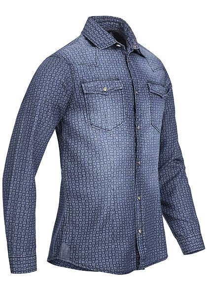 Jack and Jones Hemd ORKICK 12093789 2 Taschen Blümchen Muster Slim Fit dark blue dn - Art.-Nr.: 15070785