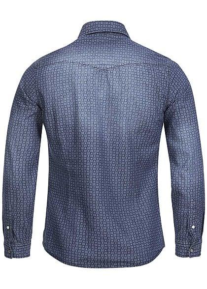 Jack and Jones Hemd ORKICK 12093789 2 Taschen Blümchen Muster Slim Fit dark blue dn