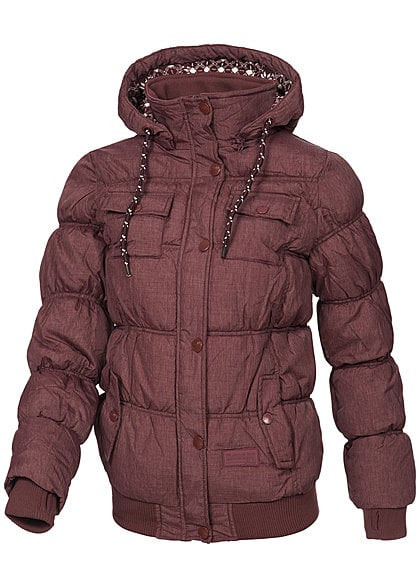 Eight2Nine Damen Winter Jacke abnehmb Kapuze 4 Taschen gesteppt by Fresh Made rot