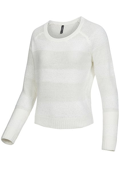 Madonna Damen Pullover CELESTE 72-5043X Grobstrick teils Fell Optik off weiss