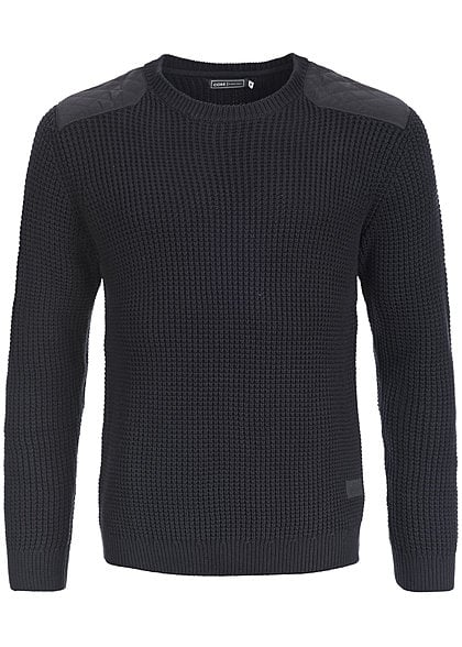 Jack and Jones Strickpullover QUILT CREW NECK 12096926 Grobstrick Patches schwarz - Art.-Nr.: 15080954