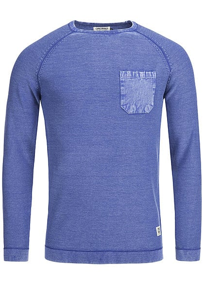 Jack and Jones Pullover DYLAN CREW NECK 12093522 Brusttasche surf the web blau melange